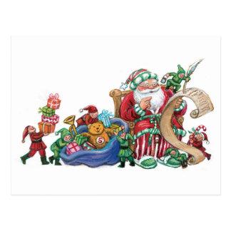 Papá Noel duendes y postal del navidad de los jug