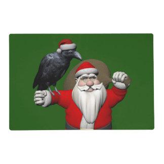 Papá Noel dulce con el cuervo enorme Tapete Individual