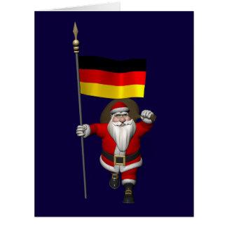 Papá Noel dulce con la bandera de Alemania Tarjeta De Felicitación Grande