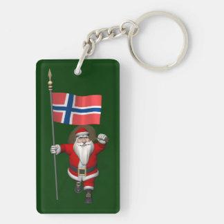 Papá Noel dulce con la bandera de Noruega Llavero Rectangular Acrílico A Doble Cara