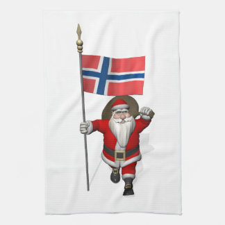 Papá Noel dulce con la bandera de Noruega Toalla De Mano