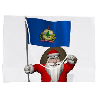 Papá Noel dulce lleva la bandera de Vermont Bolsa De Regalo Grande