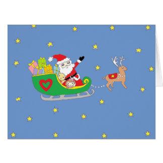 Papá Noel el noche de navidad Tarjeton