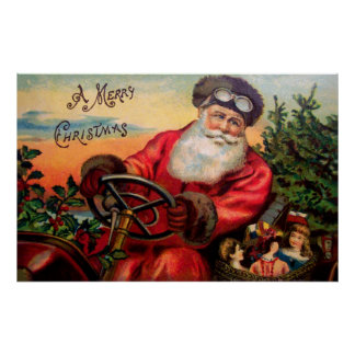 Papá Noel en automóvil Póster