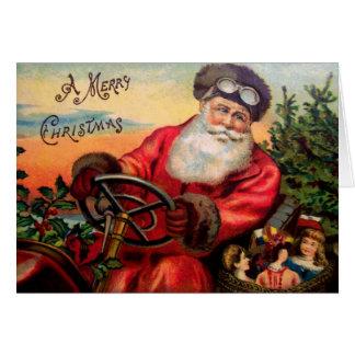 Papá Noel en automóvil Tarjeta De Felicitación