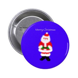 Papá Noel en azul Pin Redondo De 2 Pulgadas