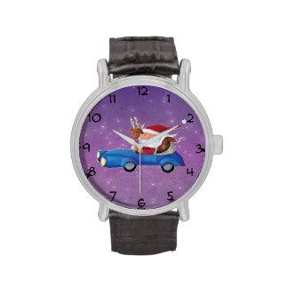 Papá Noel en Cabrio Relojes De Pulsera