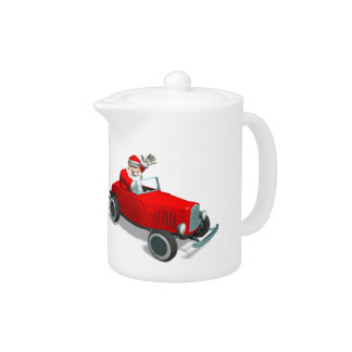 Papá Noel en coche de carreras