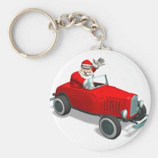 Papá Noel en coche de carreras Llavero Personalizado