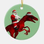 Papá Noel en dinosaurio Adorno De Navidad