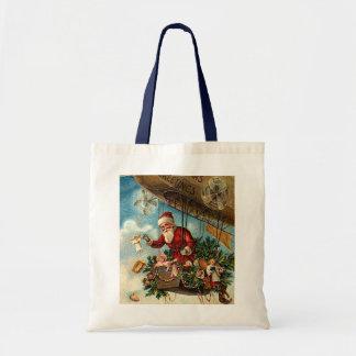 Papá Noel en dirigible Bolsa Lienzo