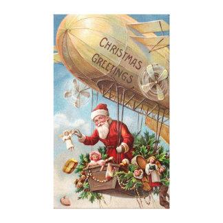 Papá Noel en dirigible Impresión En Tela