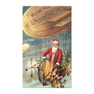 Papá Noel en el dirigible 3 Impresión En Tela