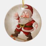 Papá Noel en el monopatín Adorno De Reyes