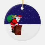Papá Noel en el ornamento del tejado Ornamentos Para Reyes Magos