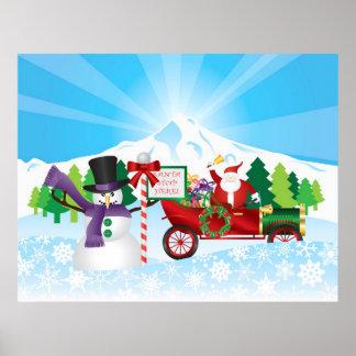 Papá Noel en el poster de la estación del invierno