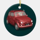 Papá Noel en Fiat 500 Adorno Redondo De Cerámica