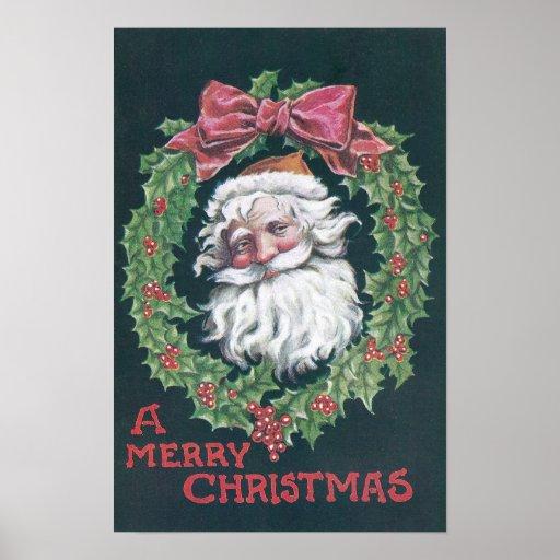 Papá Noel en guirnalda del acebo Poster
