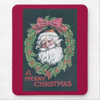 Papá Noel en guirnalda del acebo Alfombrillas De Ratones