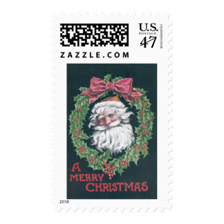 Papá Noel en guirnalda del acebo Timbres Postales
