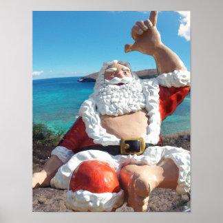 Papá Noel en la bahía Hawaii de Hanauma Póster