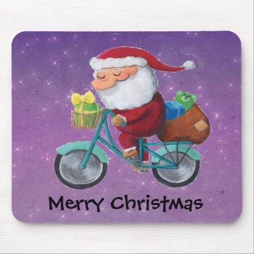 Papá Noel en la bicicleta Alfombrilla De Ratón
