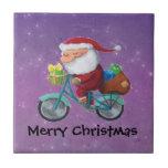 Papá Noel en la bicicleta Azulejo Cerámica