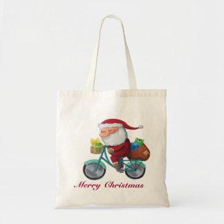 Papá Noel en la bicicleta Bolsa Lienzo