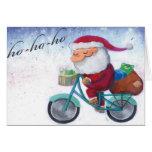 Papá Noel en la bicicleta Felicitación