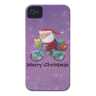 Papá Noel en la bicicleta iPhone 4 Case-Mate Cobertura