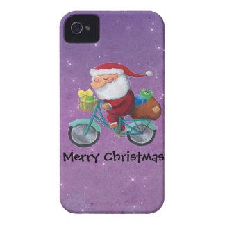 Papá Noel en la bicicleta Case-Mate iPhone 4 Funda