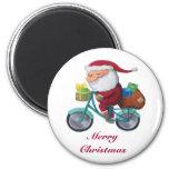 Papá Noel en la bicicleta Imanes