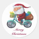 Papá Noel en la bicicleta Pegatinas Redondas