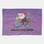 Papá Noel en la bicicleta Toalla De Cocina