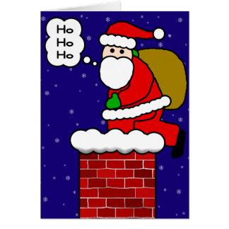 Papá Noel en la chimenea Tarjeta De Felicitación
