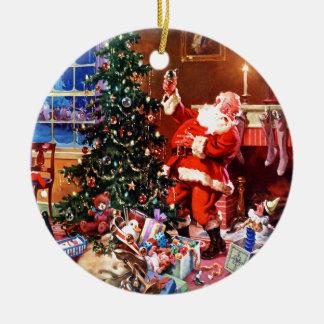 Papá Noel en la noche antes del navidad Adorno Navideño Redondo De Cerámica