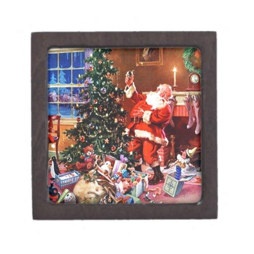 Papá Noel en la noche antes del navidad Cajas De Joyas De Calidad