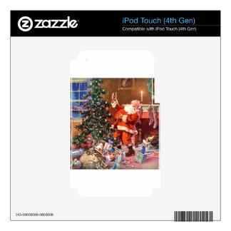 Papá Noel en la noche antes del navidad Calcomanía Para iPod Touch 4G