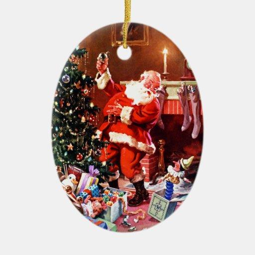 Papá Noel en la noche antes del navidad Adorno Ovalado De Cerámica