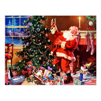 Papá Noel en la noche antes del navidad Postal