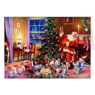 Papá Noel en la noche antes del navidad Tarjeta De Felicitación