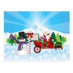 Papá Noel en la postal de la estación del invierno