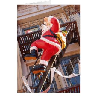 Papá Noel en la salida de incendios Tarjeta De Felicitación