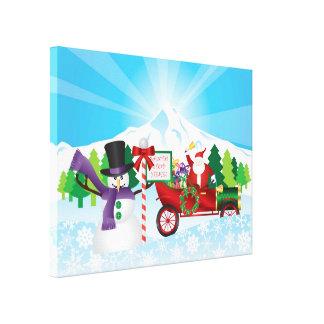 Papá Noel en lona de la estación del invierno del  Lona Estirada Galerías