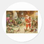 Papá Noel en los establos del reno de Polo Norte Pegatina