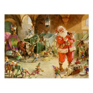 Papá Noel en los establos del reno de Polo Norte Postal
