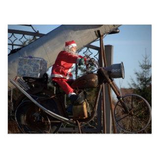 Papá noel en motocicleta postales
