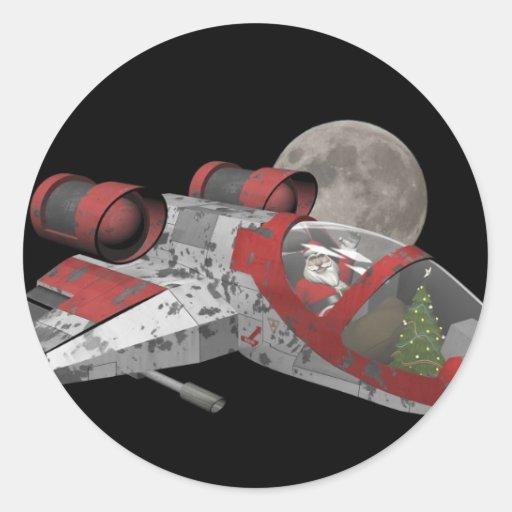 Papá Noel en nave espacial Pegatina Redonda