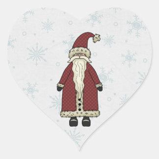 Papá Noel en nieve Pegatina En Forma De Corazón