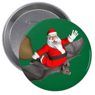 Papá Noel en palo del vuelo Pin Redondo De 4 Pulgadas